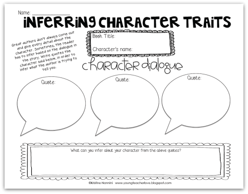 small resolution of Inferring Character Traits Through Dialogue (Plus a Free Graphic Organizer)  - Young Teacher Love