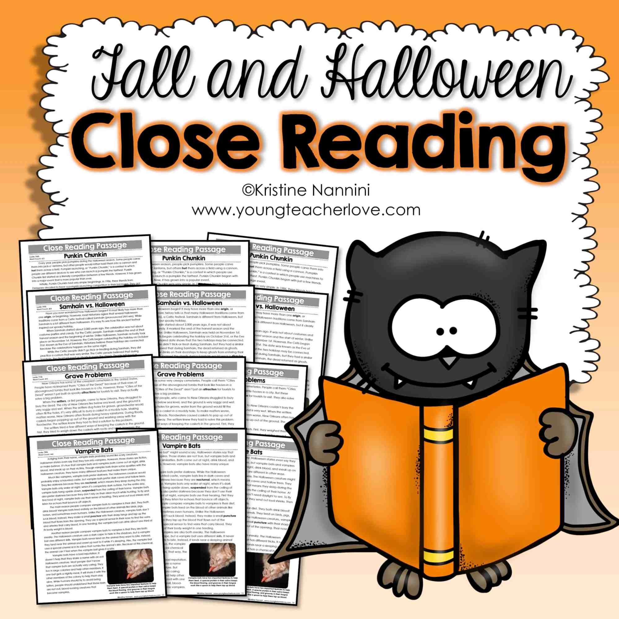 hight resolution of Fall and Halloween Close Reading Passages