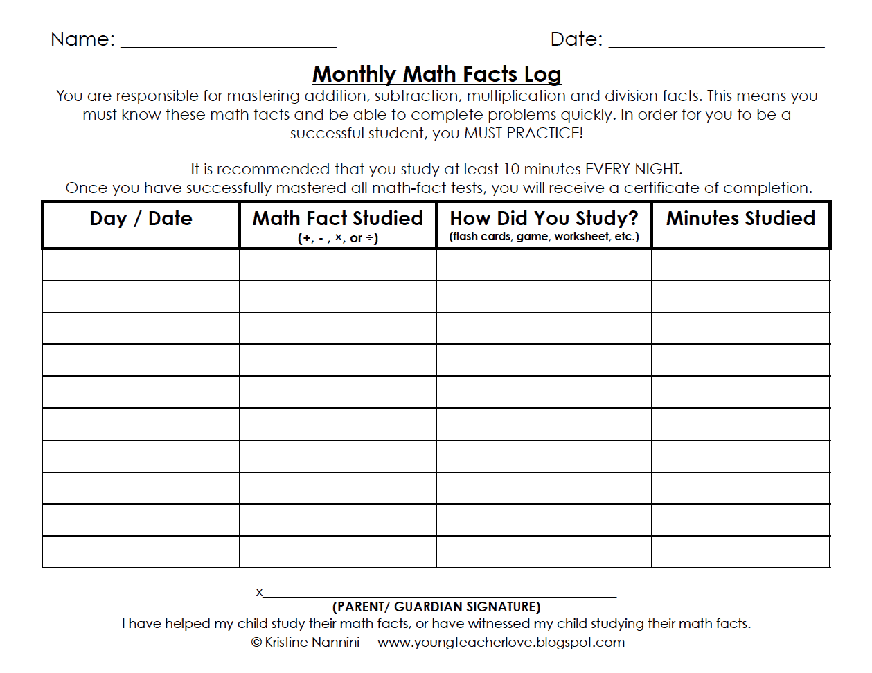 Math Fact Fluency Tracking Sheet