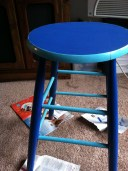 A wooden stool my husband got me for two dollars, that I'm painting!