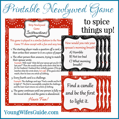 Printable Newleywed Game - To Spice Things Up!