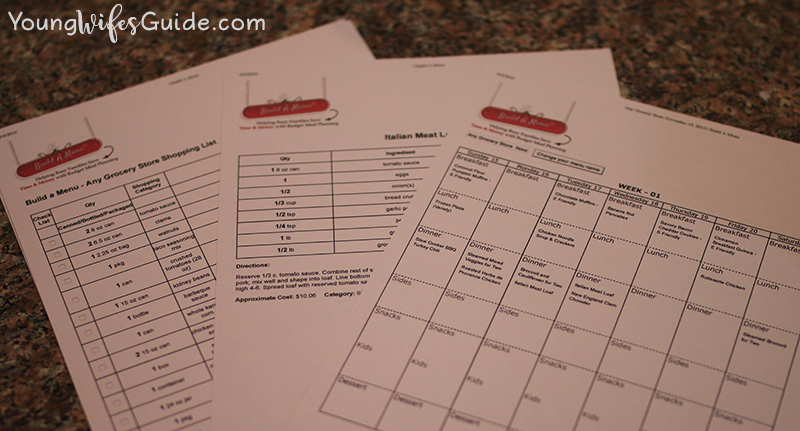 My meal planning sheets from BAM
