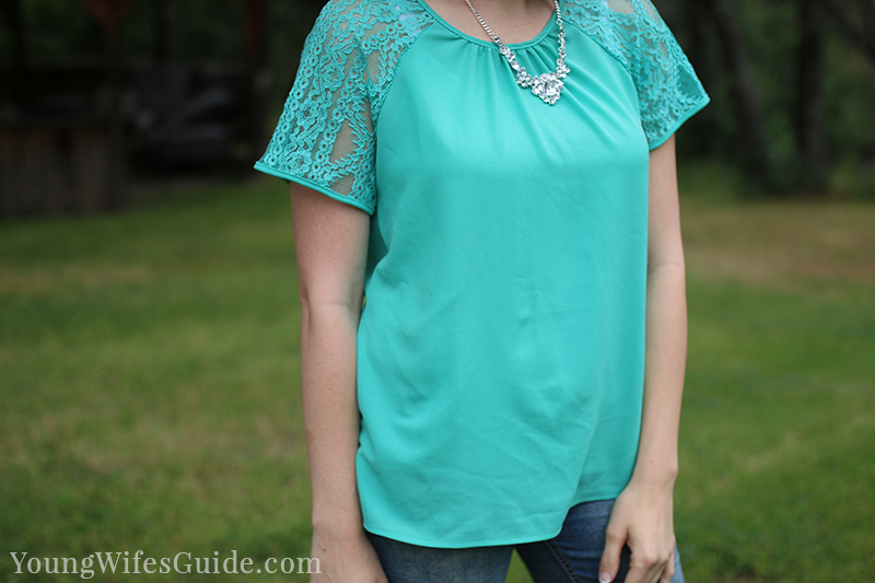Mint lace Stitch Fix shirt 3