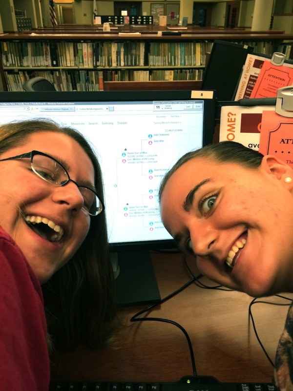 Sydney and Atlanta make discoveries on their genealogy at the Midwest Genealogy Library in Independence