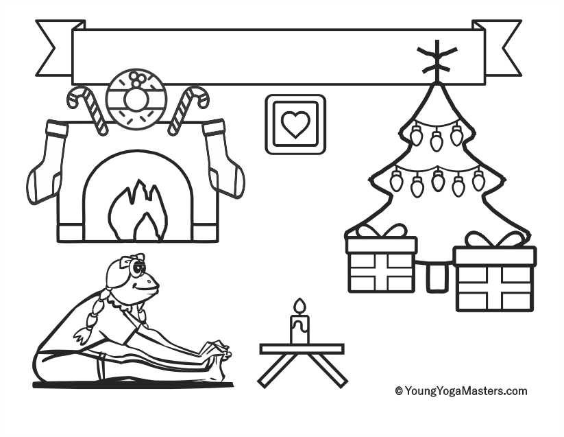 Kids Yoga Christmas Holiday Printable Colouring Page