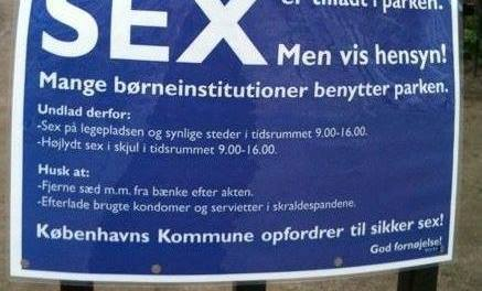 Crazy Danish sign about having public sex in a park. It's a different world!