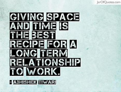 Giving space in a relationship
