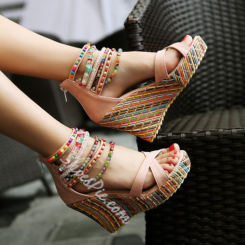a345f17c3451 Shoespie Ankle Beading Wrap Wedge Sandals - You Posh Girl