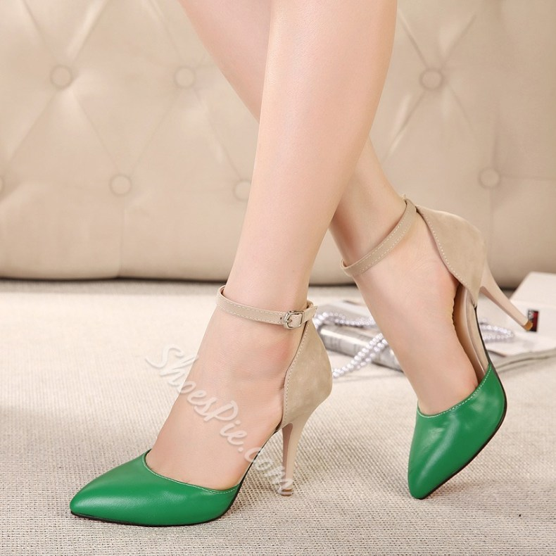 cd4f47347 Shoespie Color Contrast Ankle Strap Pointed-Toe Heels