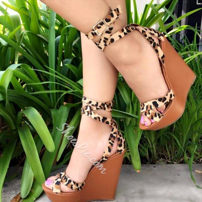 4552f30ed6c3 Fashionable Leopard Buckle Platform Wedge Sandals