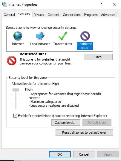 restricted sites on properties window