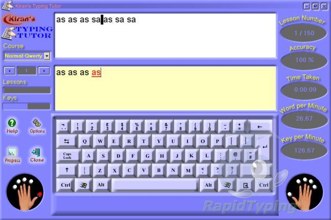 Kiran's typing touch-type