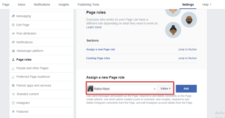 assign a new facebook page role
