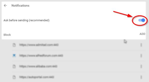 disable chrome notification