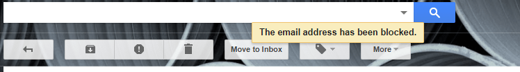 email address has been blocked