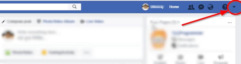 facebook drop down arrow