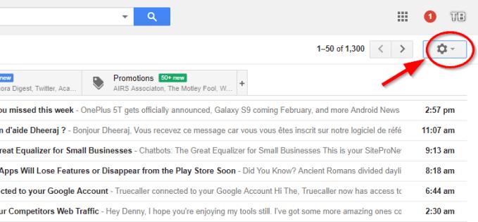 gear icon click gmail
