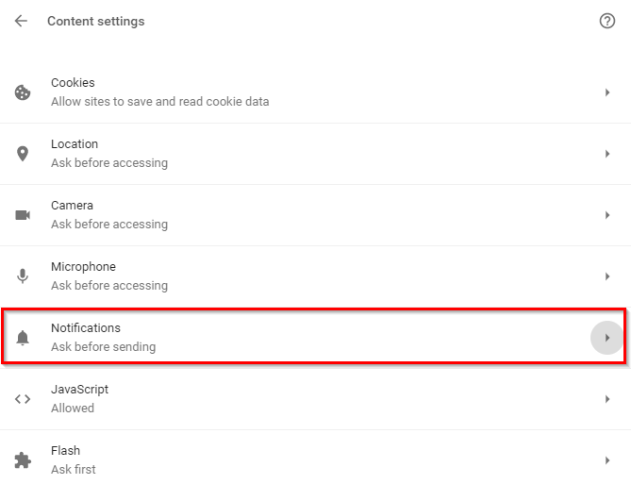 notification option chrome settings