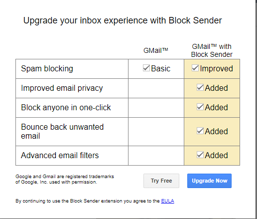 Block button on email gmail page