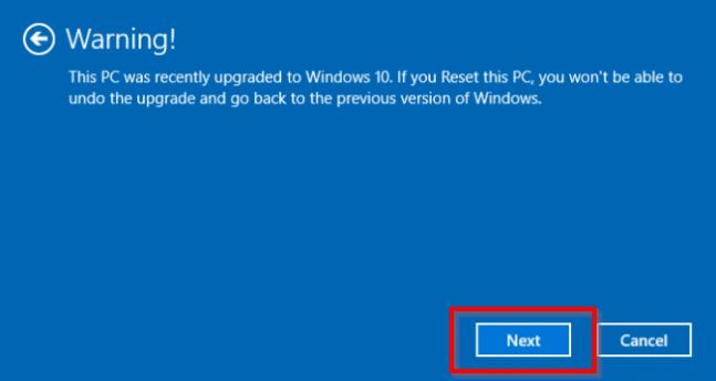 windows factory reset warning