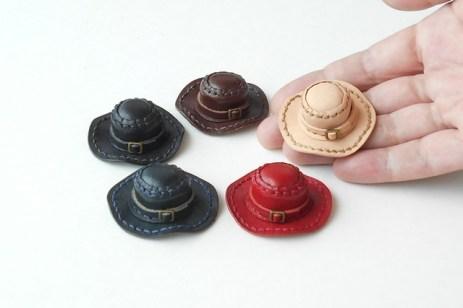 革のぷち帽子手作りキット(栃木レザー)1