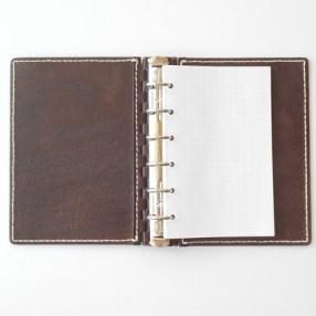ミニ6穴 レザー蝶番のシステム手帳 Brown 1
