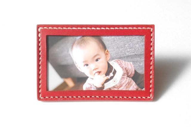 手縫いのフォトフレーム・カード立て Red(名刺サイズ)