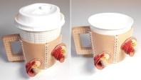 左はセブンカフェのレギュラー。右は広く市販されている205mlサイズ(7オンスコップ)の紙コップです。