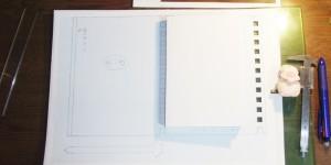 型紙に実物を重ねてみた図