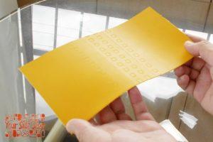 染料仕上げの黄色いヌメ革です