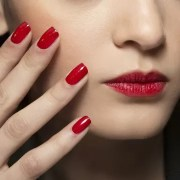 red nail paint spa salon