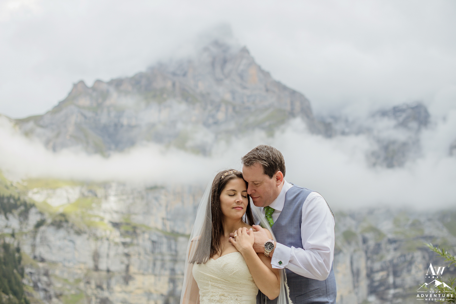 Couple hugging on wedding adventure in Switzerland