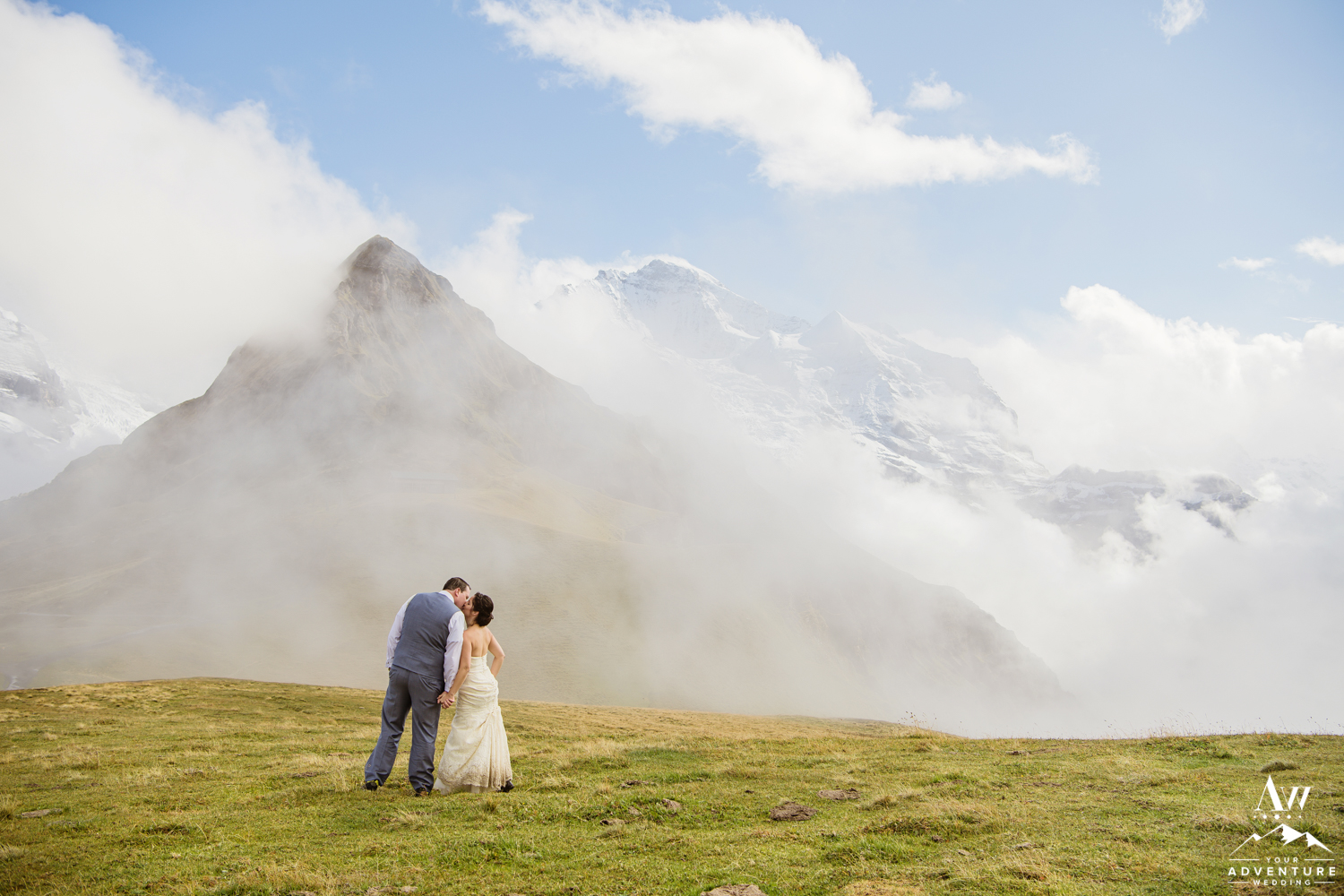 Couple Kissing during Jungfrau mountain Wedding in Switzerland