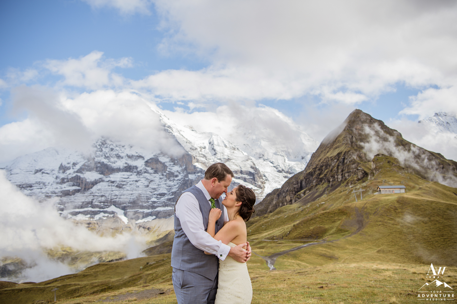 Couple hugging during Switzerland Elopement adventure