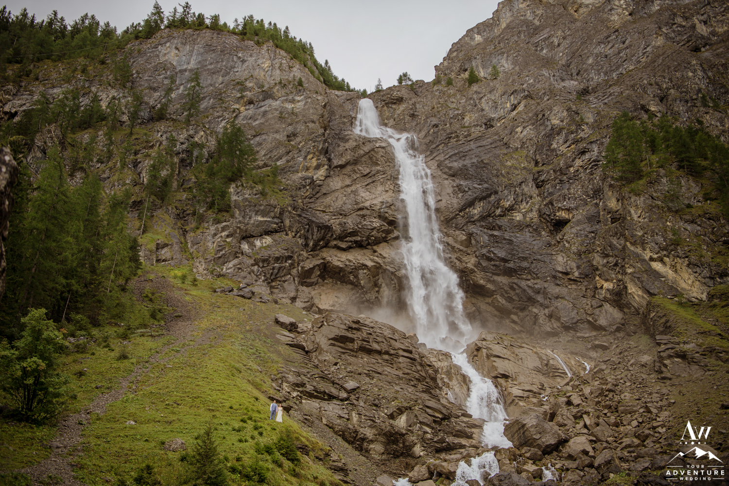 Adventure Wedding at Engstligenalp Waterfall in Switzerland