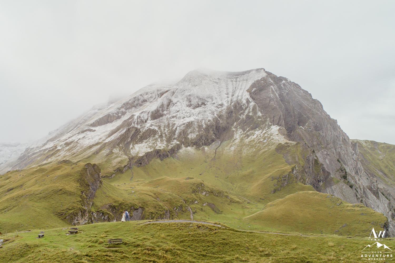 Wedding Drone Photos of couple on engstligenalp mountain in Switzerland