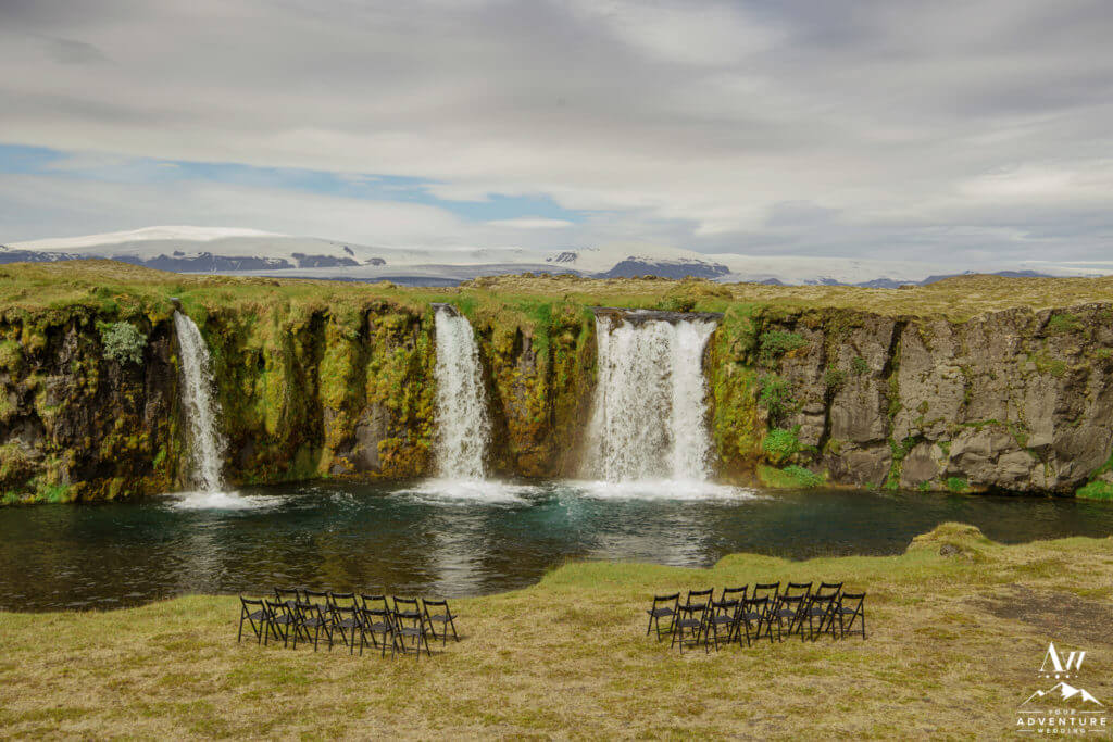 Waterfall Wedding Ceremony Setup in Iceland
