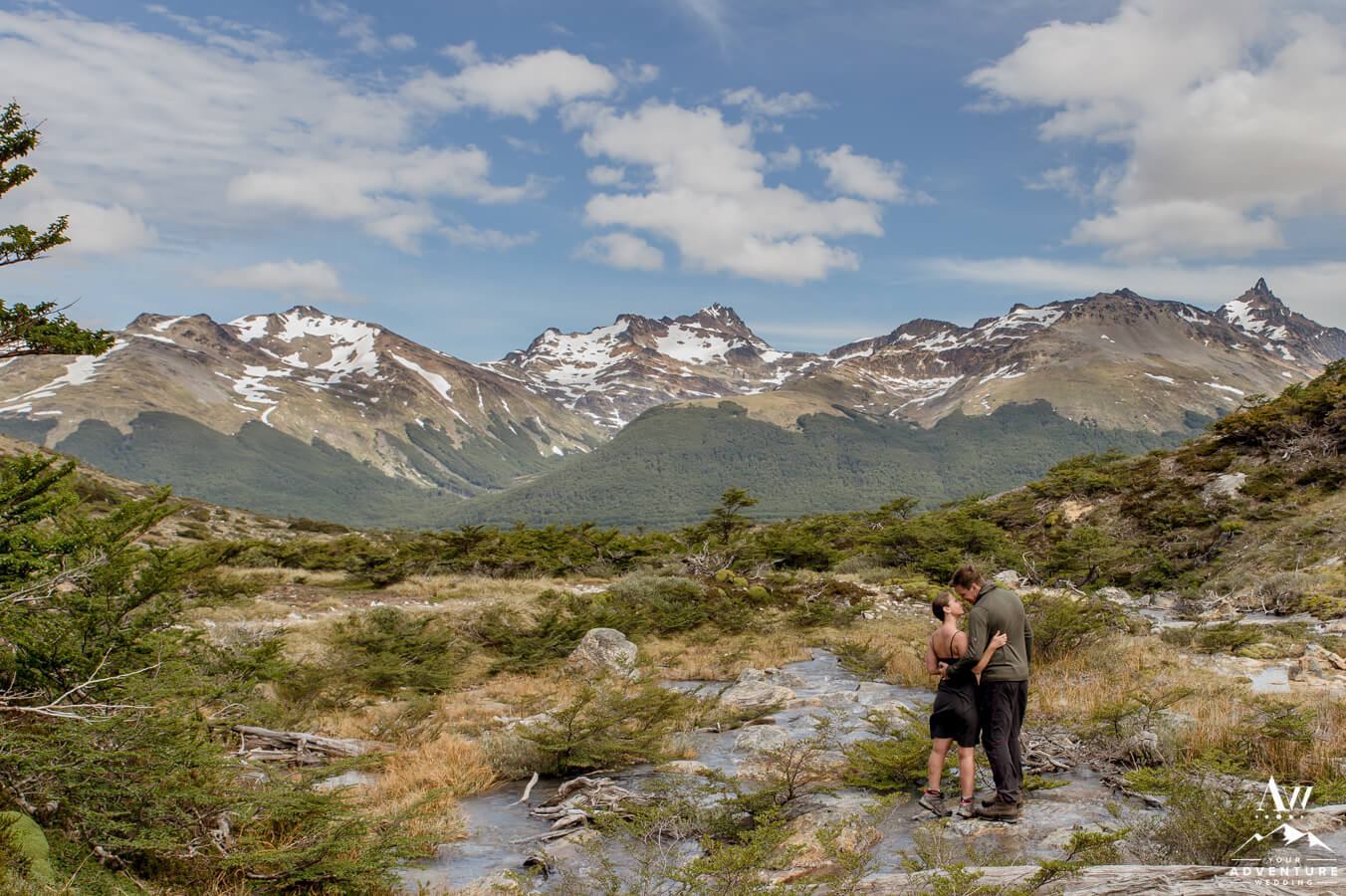 Argentina Wedding Guide-Couple during a Mountain River Elopement