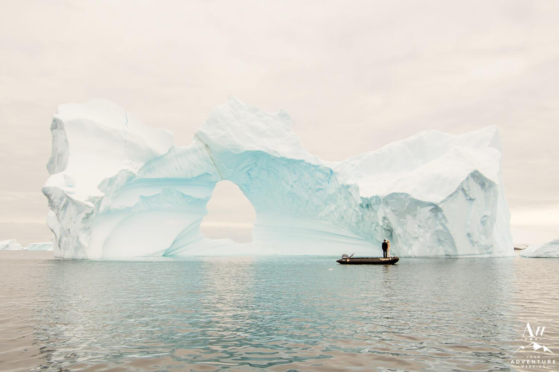 Massive icebergs and Antarctica Wedding Couple