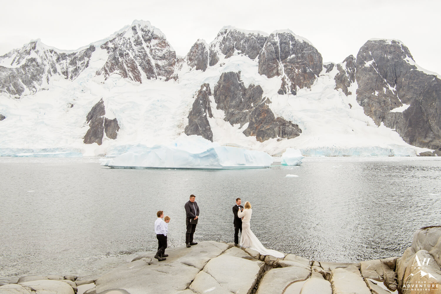 Antarctica Wedding Expedition Couple Exchanging Vows