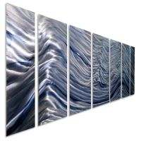 Stunning Blue Abstract Metal Wall Art Painting Silver ...