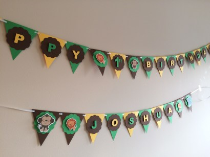 Safari Animals First Birthday Banner