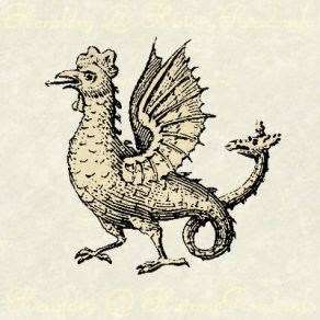 The Amphisien Cockatrice looks much like a cock with a long serpent-like tail ending with a second head. It is a rare charge in heraldic achievements.
