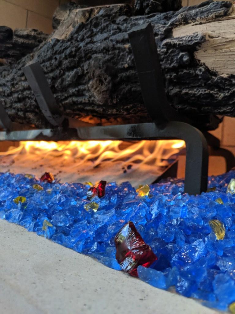 Glass Rocks in Fireplace