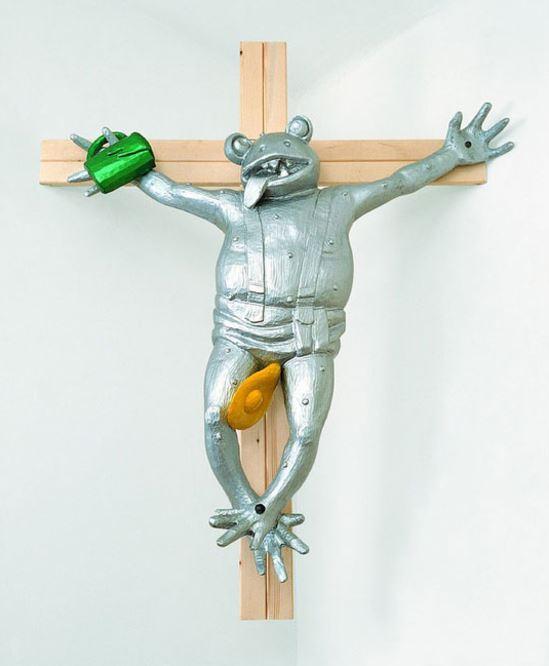 "Martin Kippenberger: ""Zuerst die Füße"",1991,Holz, Autolack, Metall, Format:130 x 110 x 22 cm."