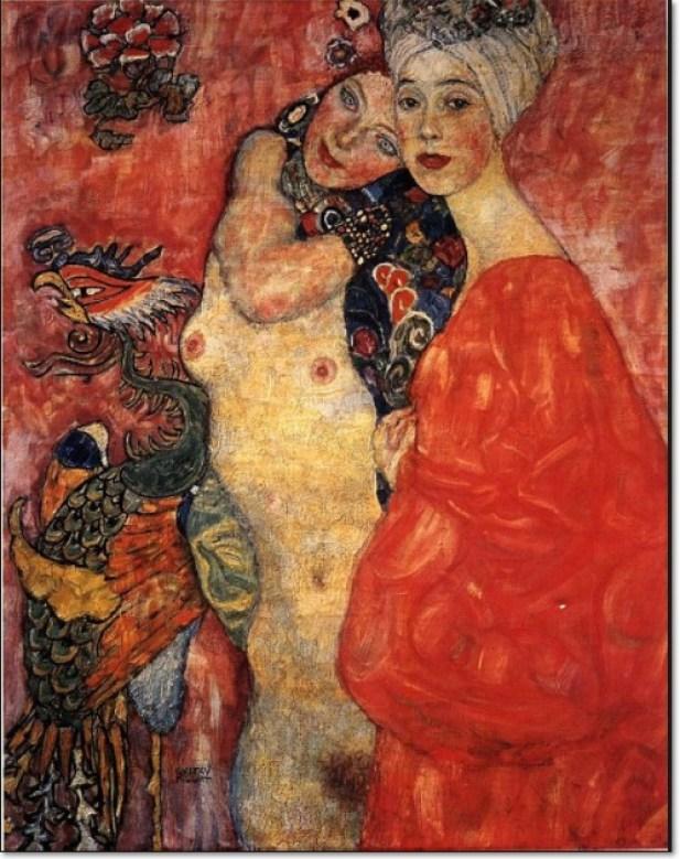 """Gustav Klimt: """"Freundinnen"""", 1916-17, Öl auf Leinwand, 99 x 99 cm. 1945 auf Schloss Immenhof verbrannt. Ehemals Sammlung August und Serena Lederer"""