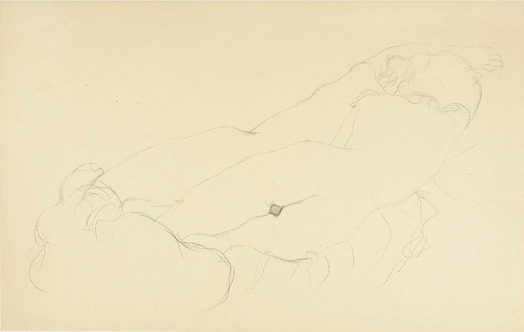 Gustav Klimt, ZWEI LIEGENDE RÜCKENAKTE, 1905/06 Bleistift auf chamoisfarbenem Simili-Japanpapier, 349 x 551 mm Studie für das Gemälde 'Wasserschlangen II', 2. Zustand (1907)