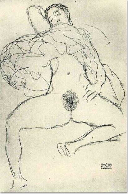 Gustav Klimt Akt mit gesprieizten Beinen, schlafend