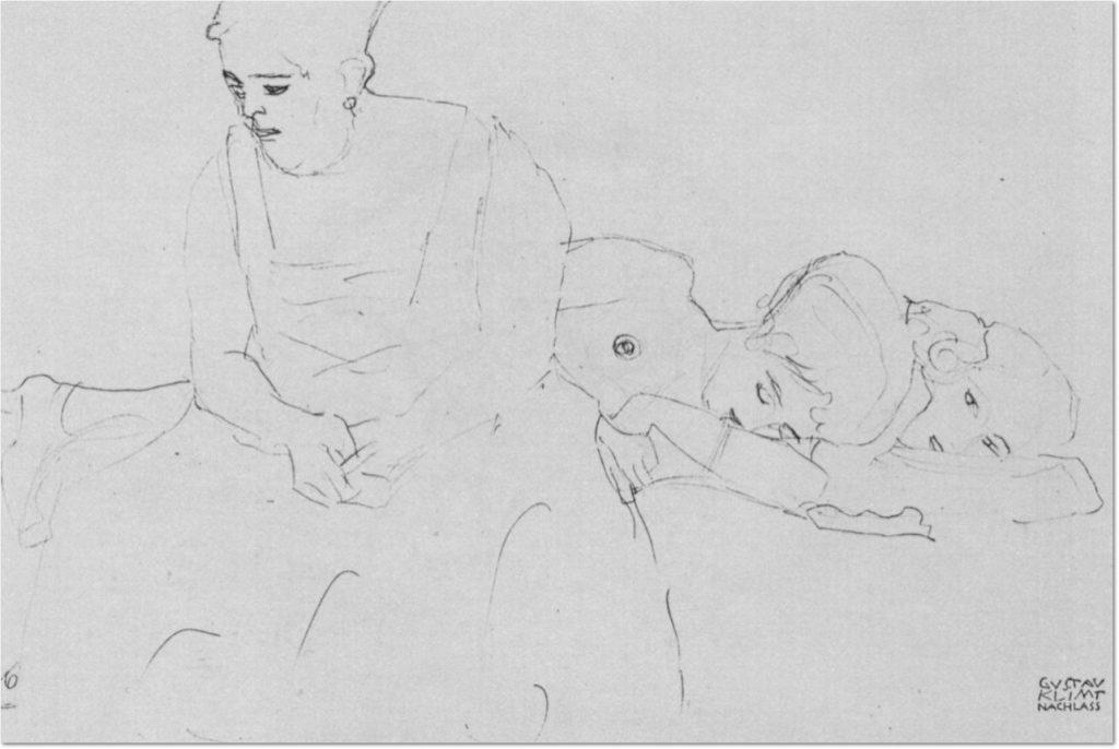 Gustav Klimt: 'Dicke sitzende Frau im Vordergrund, hinter ihr zwei Liegende'. Bleistift auf Papier.