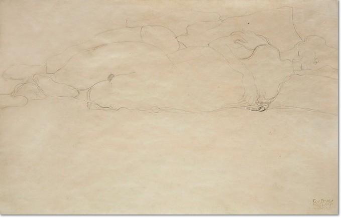 """Gustav Klimt, Freundinnen in Umarmung, ,1905/06, Bleistift auf Papier, 345 x 550 mm, Nachlassstempel rechts unten Studie zu """"Wasserschlangen II"""" (2. Zustand, 1907)"""